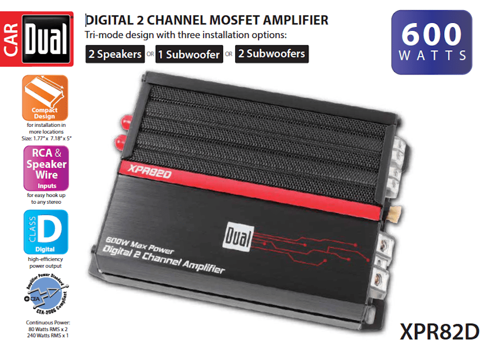 Dual Electronics XPR82D 2/1 High Performance Power MOSFET Class D Car Amplifier with 600-Watts of Dynamic Peak Power