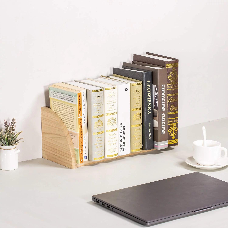 nex book shelf desktop bookcase countertop book rack for office kitchen 16 2 x 6 3 x 6 3 natural wood nx hk118 32