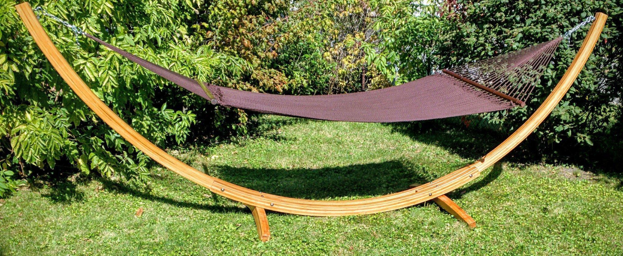 support pour hamac en bambou avec hamac de luxe en cordes de polyester chocolat