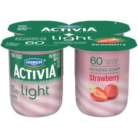 Activia Light Fat Free Strawberry Yogurt 4 Ct Com