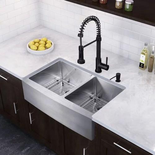 vigo 33 farmhouse stainless steel 16 gauge double bowl kitchen sink and edison matte black pull down spray kitchen faucet