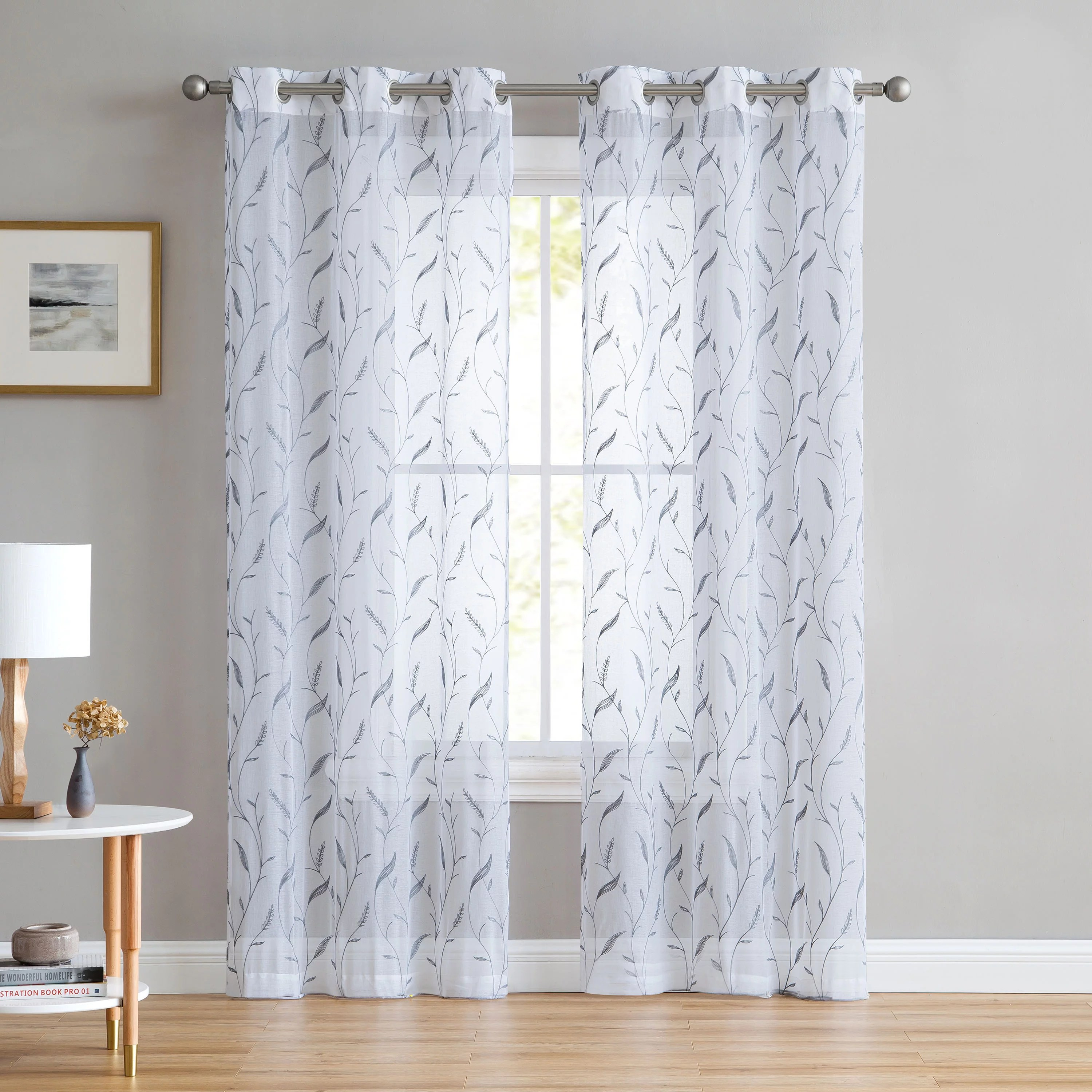 Set Of Two 2 White Sheer Window Curtains Gray