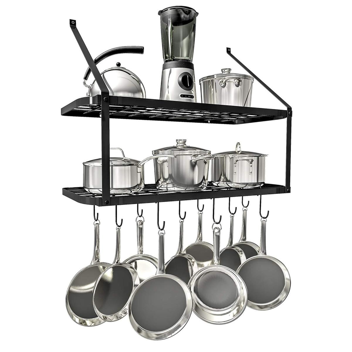 2 tier kitchen hanging pan pot rack wall mounted storage shelf with 10 hook
