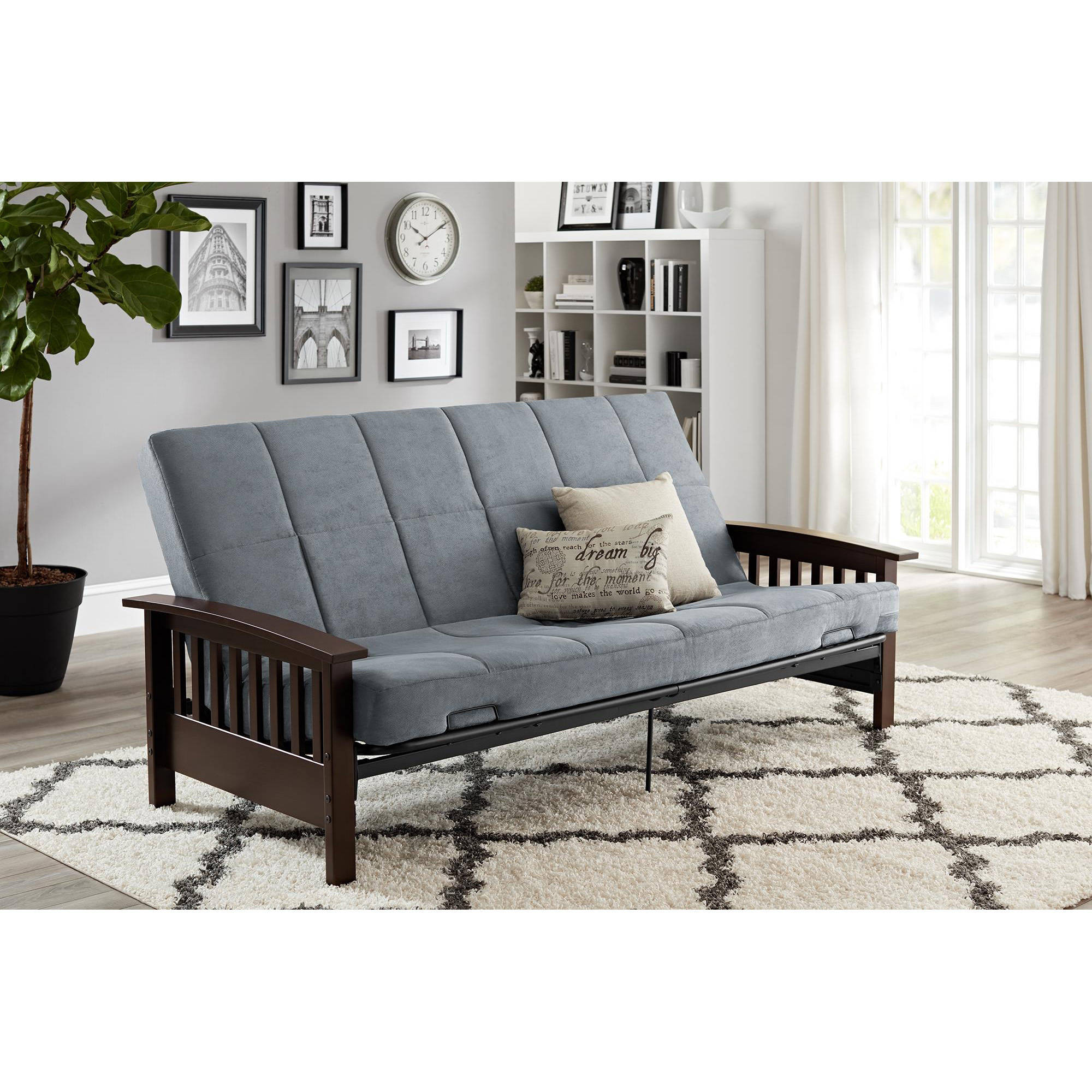 better homes and gardens neo mission wood arm futon espresso with tan mattress