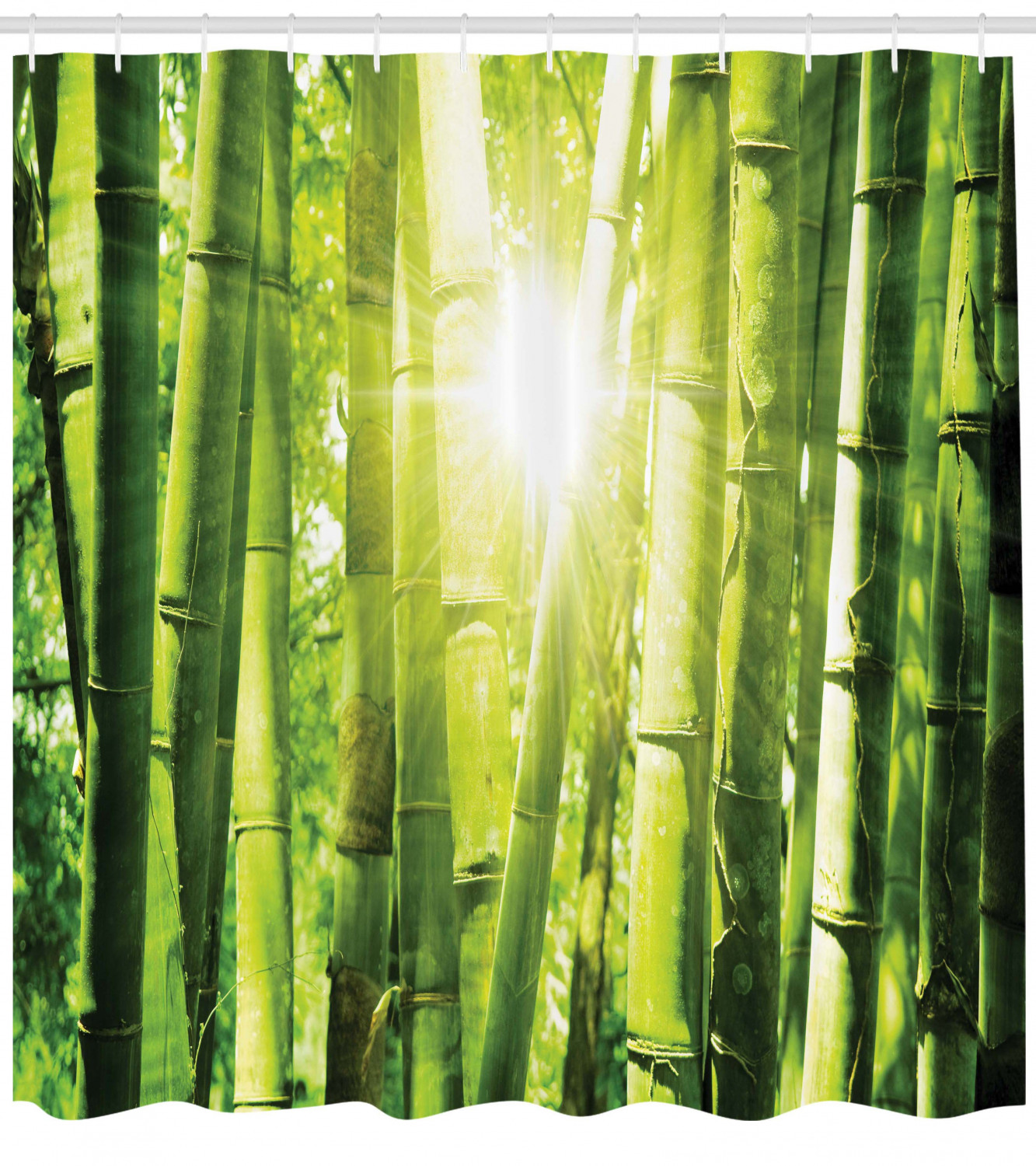 Asian Shower Curtain Asian Bamboo Forest With Morning Sunlight Sun Beams Through Trees Jungle Scene Fabric Bathroom Set With Hooks Lime Green