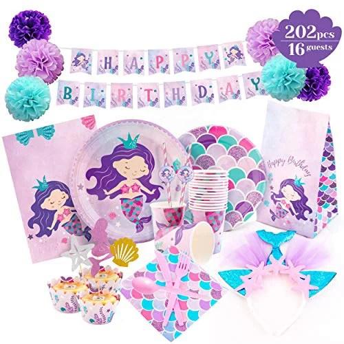 Mermaid Party Supplies Mermaid Birthday Decorations Set Happy Birthday Banner Plates Headband Cupcake Wrappers Toppers Serves 16 Walmart Com Walmart Com