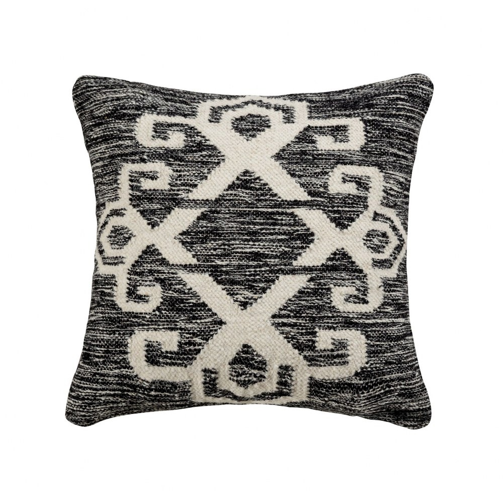 black and cream textured pillow cover 20x20 inch pillow cover only distressed black white walmart com