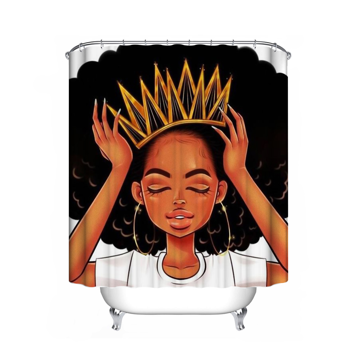 crown art print african american queen shower curtain or pedestal rug lid toilet cover bath mat doormat set for home kitchen decor for black women
