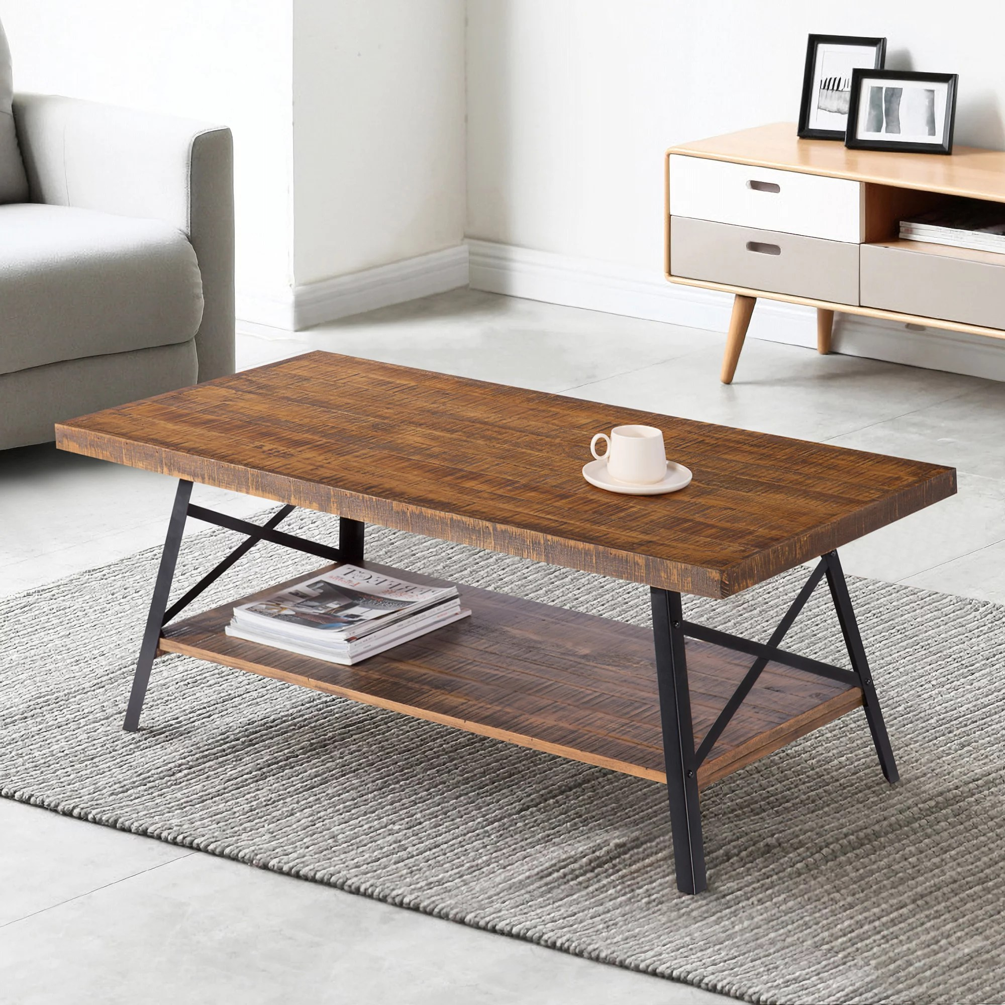 granrest 46 cocktail table solid wood steel coffee table with shelf rustic brown