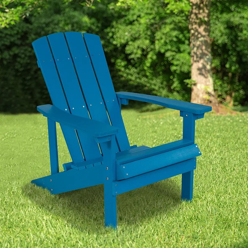 all weather poly resin wood adirondack chair in blue walmart com