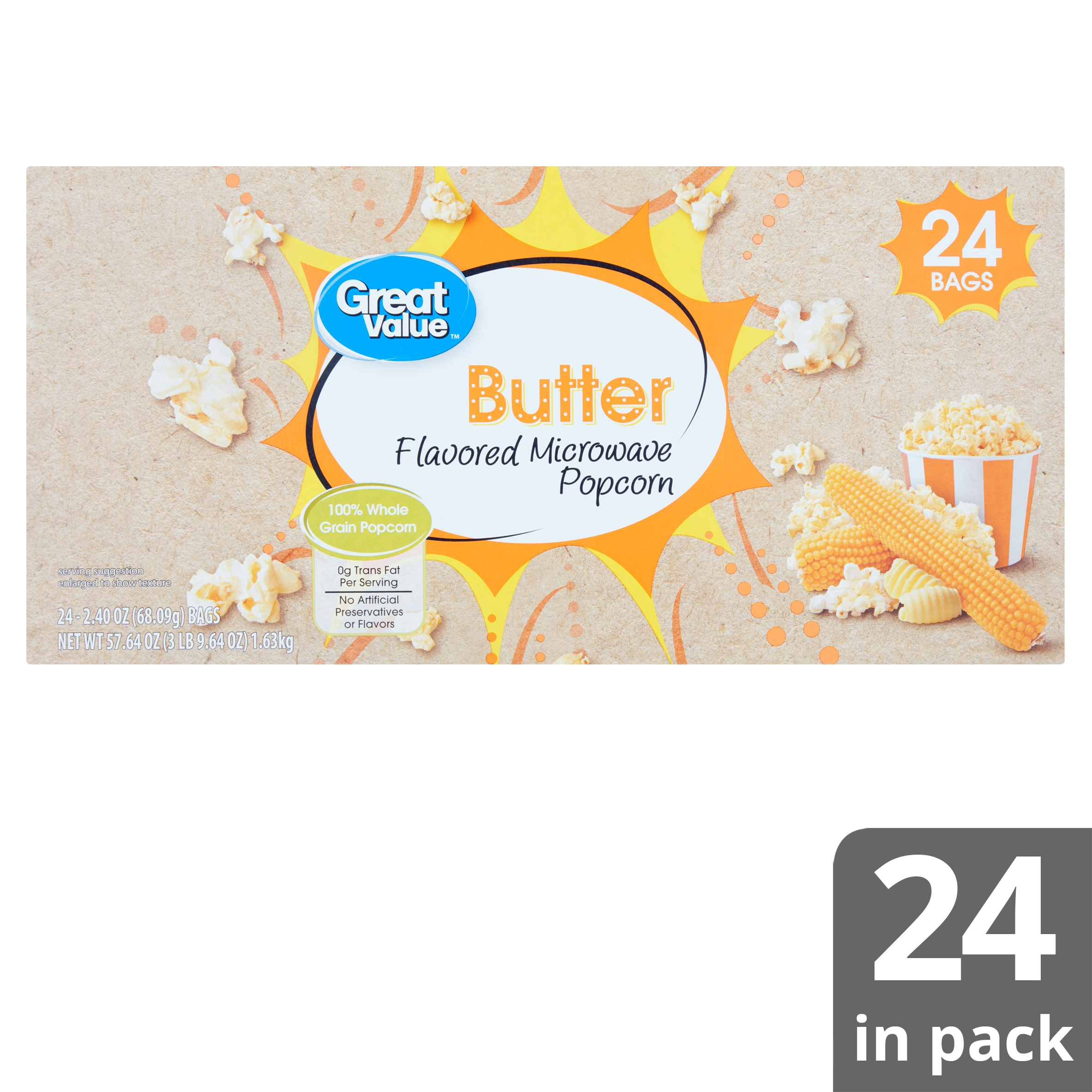 great value butter microwave popcorn 2 4 oz 24 count