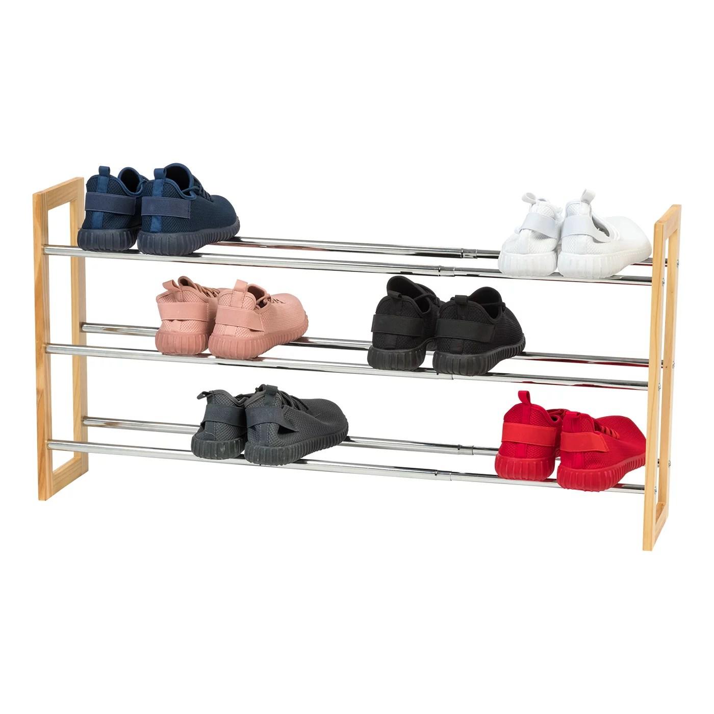 iris usa 3 tier extendable wood and metal shoe rack