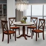 Round Dining Room Table Set For 4 Persons 5 Piece Dining Room Table And Chairs Set With Durable Wooden Frame Veneer Tabletop Modern Kitchen Table Set Solid Wood Table W 4