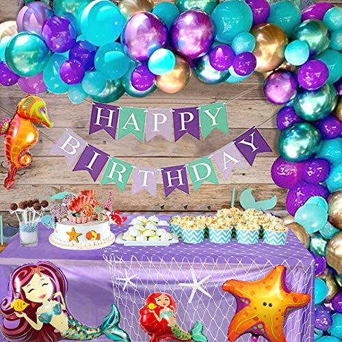 Golray Mermaid Birthday Party Decorations Supplies Kit For Girls With 58 Balloons Arch Tablecloth Fish Net Happy Birthday Banner Foil Balloons Under Sea Party Bridal Little Mermaid Party Dec Walmart Com
