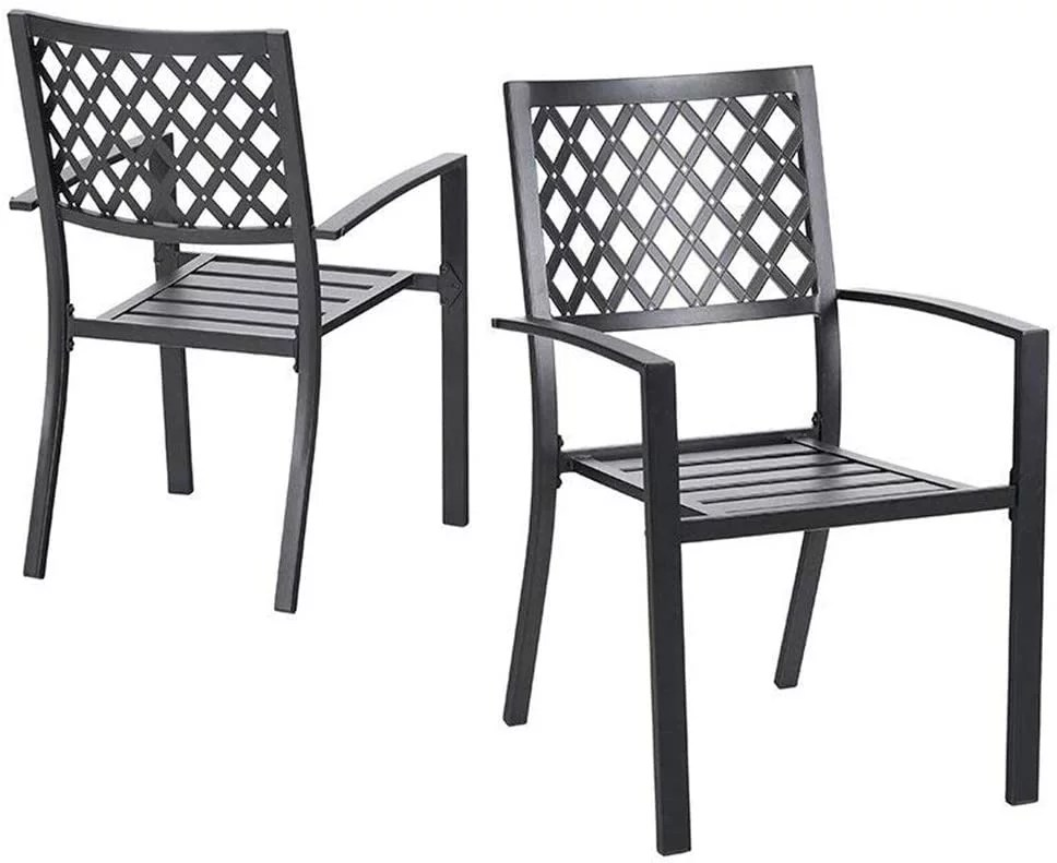 nuu garden 2 pc outdoor dining metal chair stackable bistro patio chairs set of 2 black