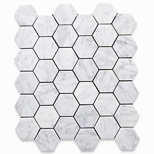 stone center online carrara white italian carrera marble hexagon mosaic tile 2 inch honed venato bianco bathroom kitchen backsplash floor tile