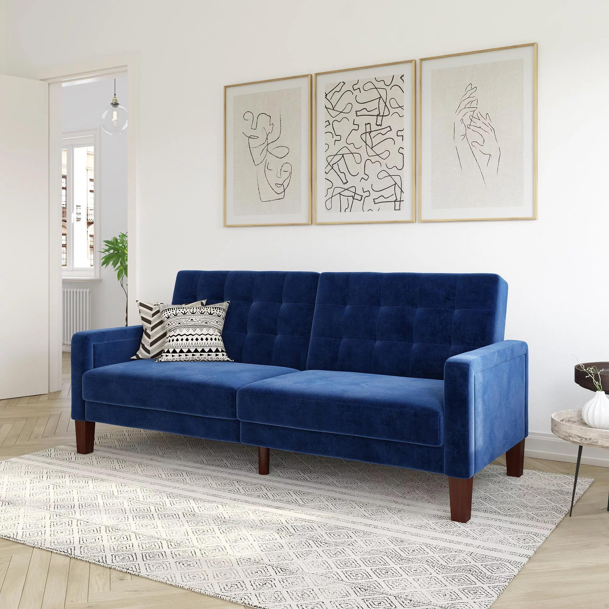 better homes gardens porter fabric tufted sofa bed in velvet navy
