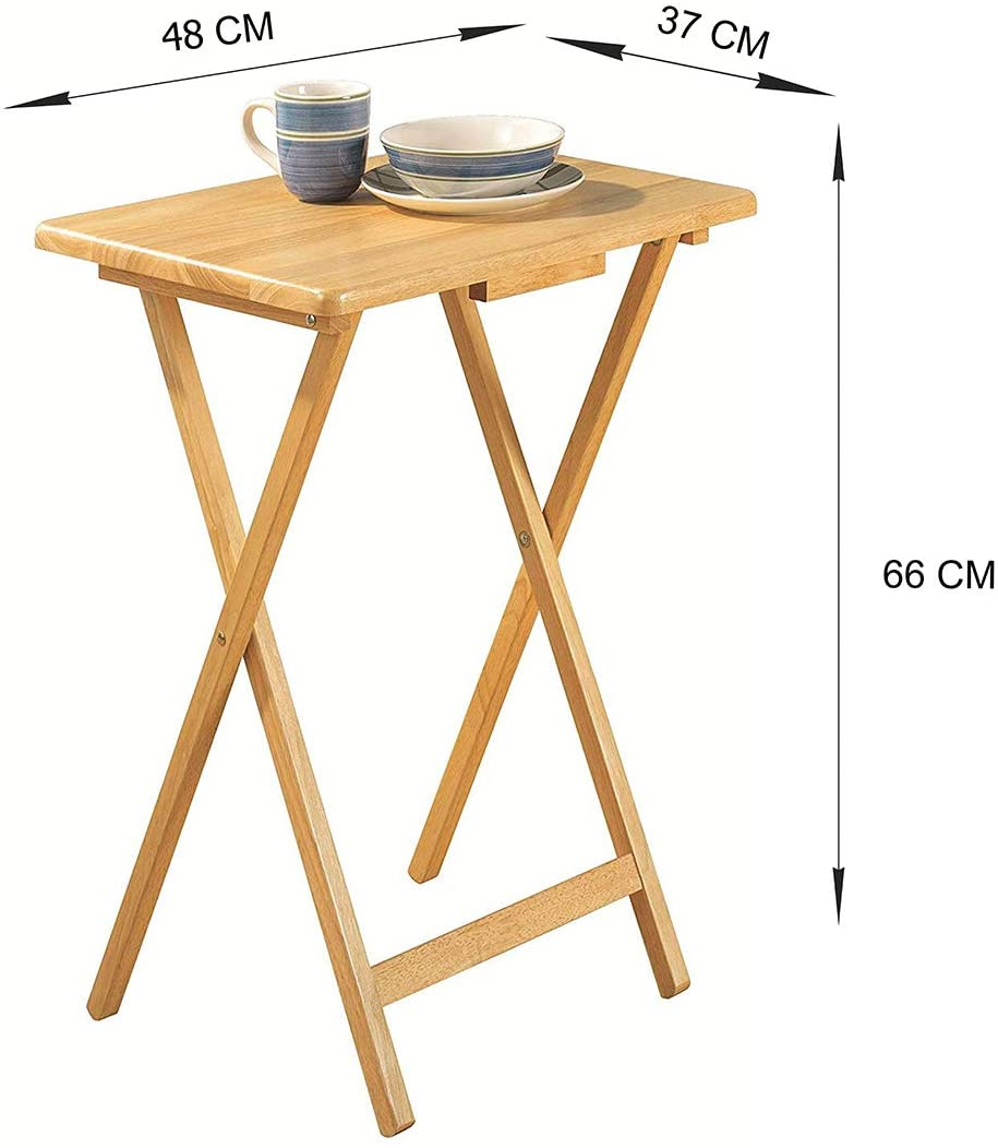 pj wood folding tv tray snack table natural