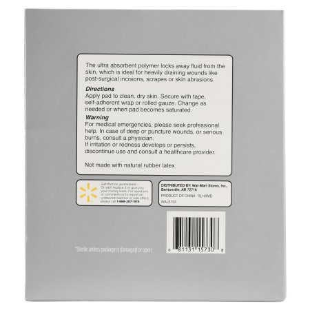 """Equate Extremely Absorbent Wound Dressing, four"""" X four"""", 10 Ct 7896a42f fc29 441d 9d43 0e84463c3d68 1"""