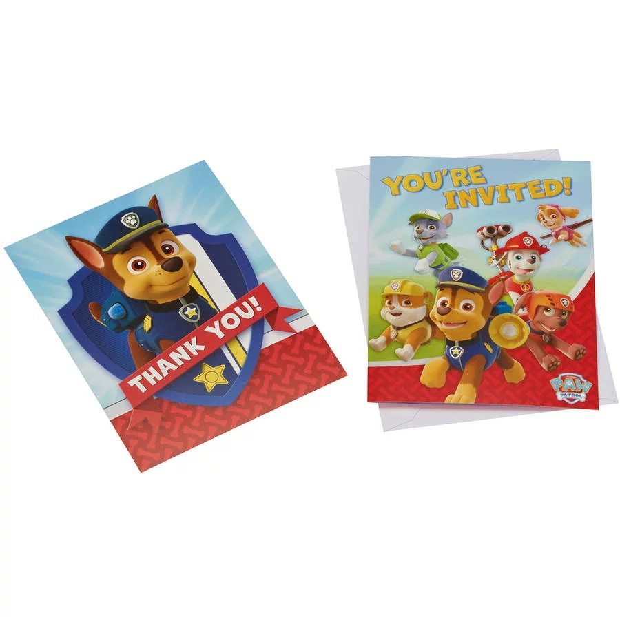 paw patrol party invite and thank you combo pack 8 count walmart com