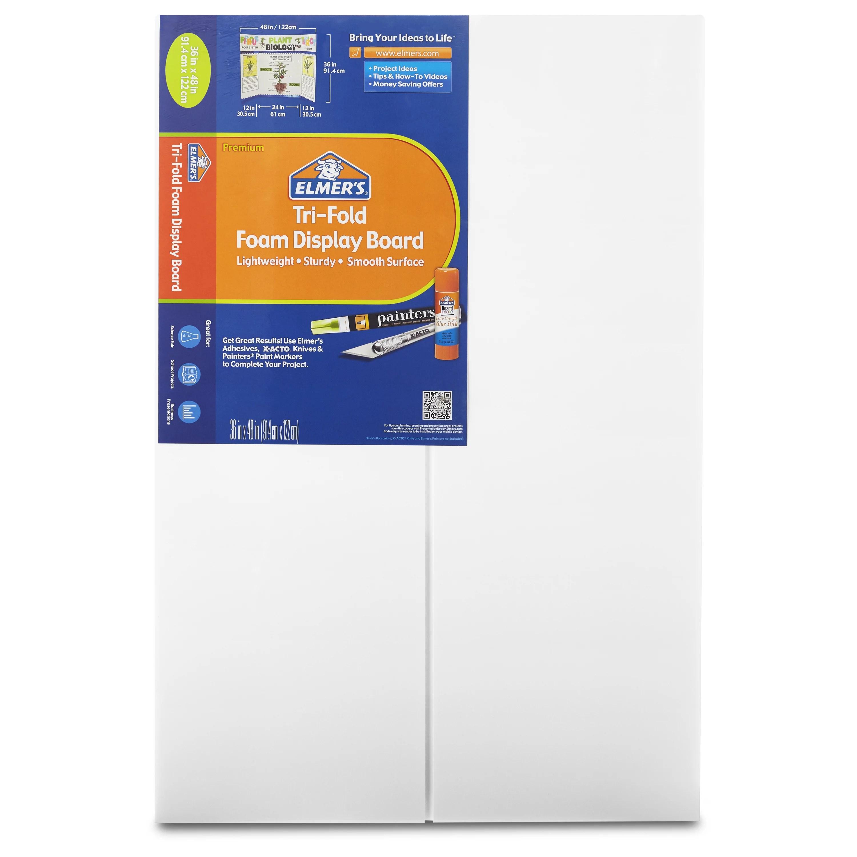 elmer s premium foam tri fold display board 3 16 thick 36 x 48 white 12 pack
