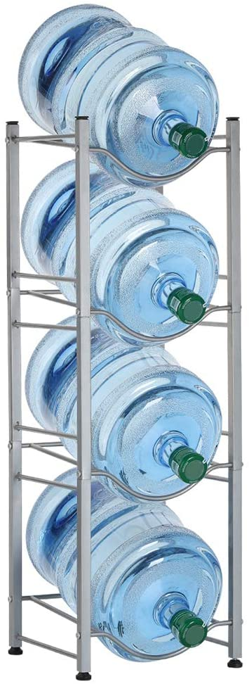 5 gallon water jug holder water bottle storage rack 4 tiers silver