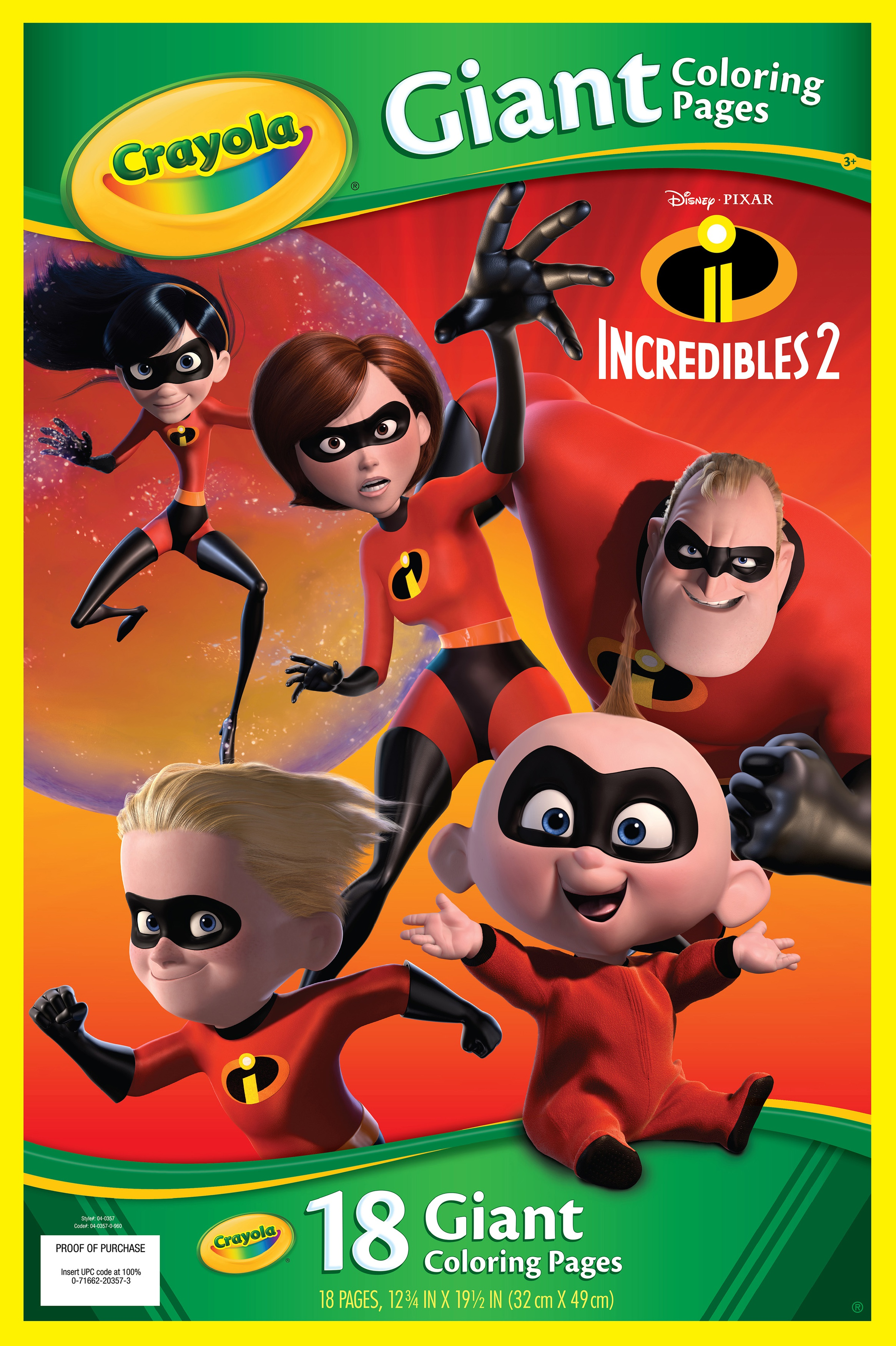 Crayola Giant Coloring Pages Featuring Disney S Incredibles 2 Brickseek