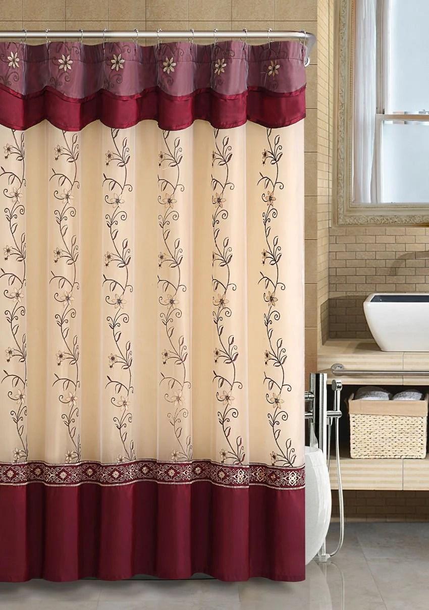 vcny home daphne embroidered sheer taffeta fabric shower curtains burgundy