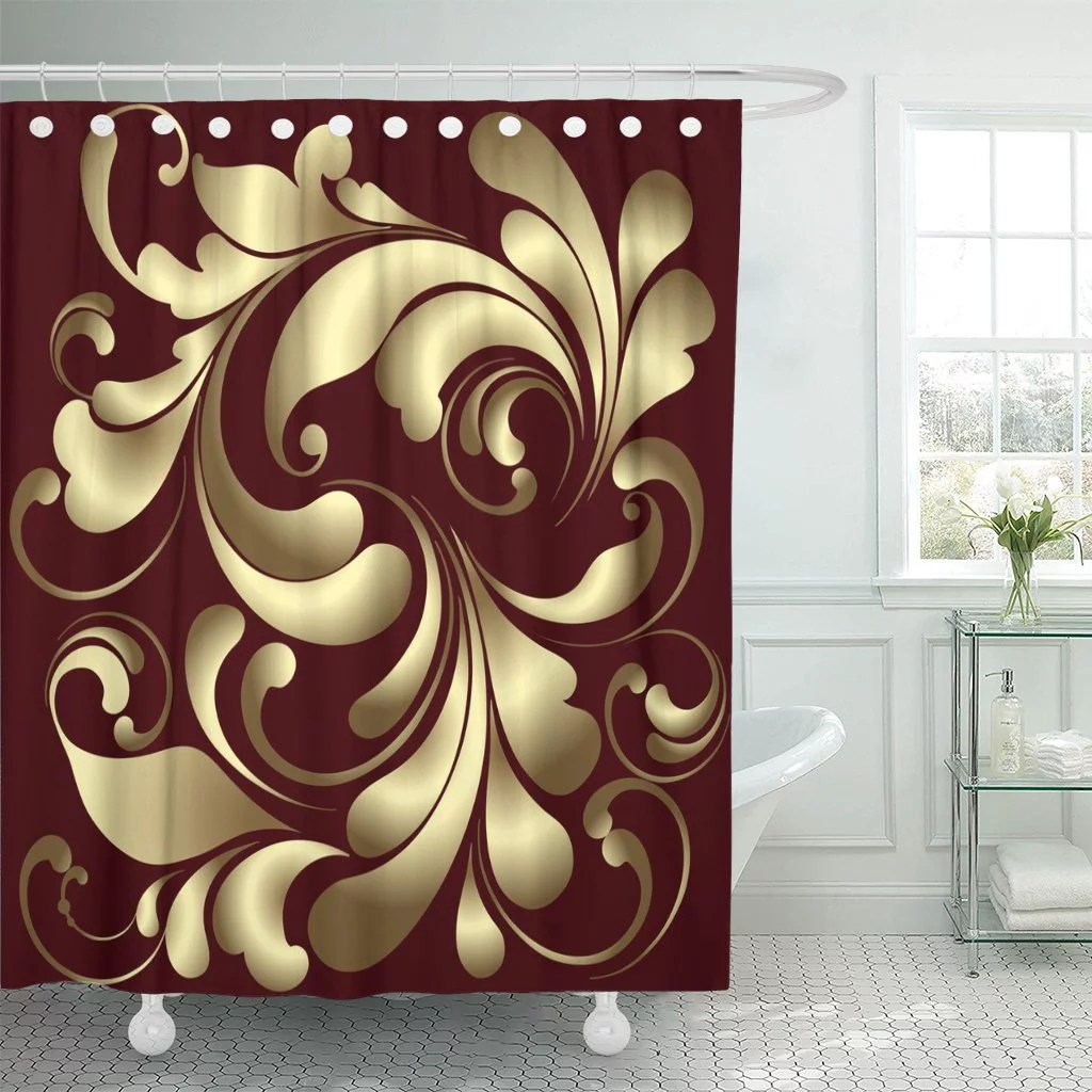 pknmt abstract luxury gold pattern on burgundy beauty bling border shower curtain 60x72 inches
