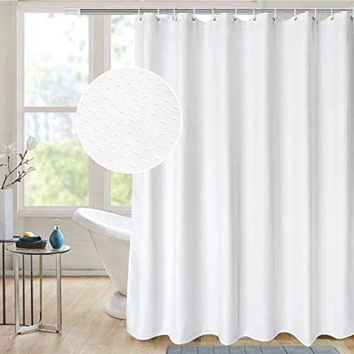 aoohome extra long 72x86 inch shower curtain fabric waffle weave decor bath curtain with hooks weighted hem heavy weight water repellent white