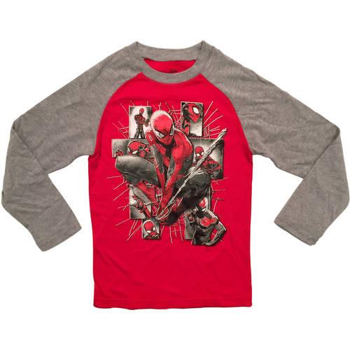 Marvel Spiderman Character Boys Fashion Long Sleeve Raglan Graphic Tee