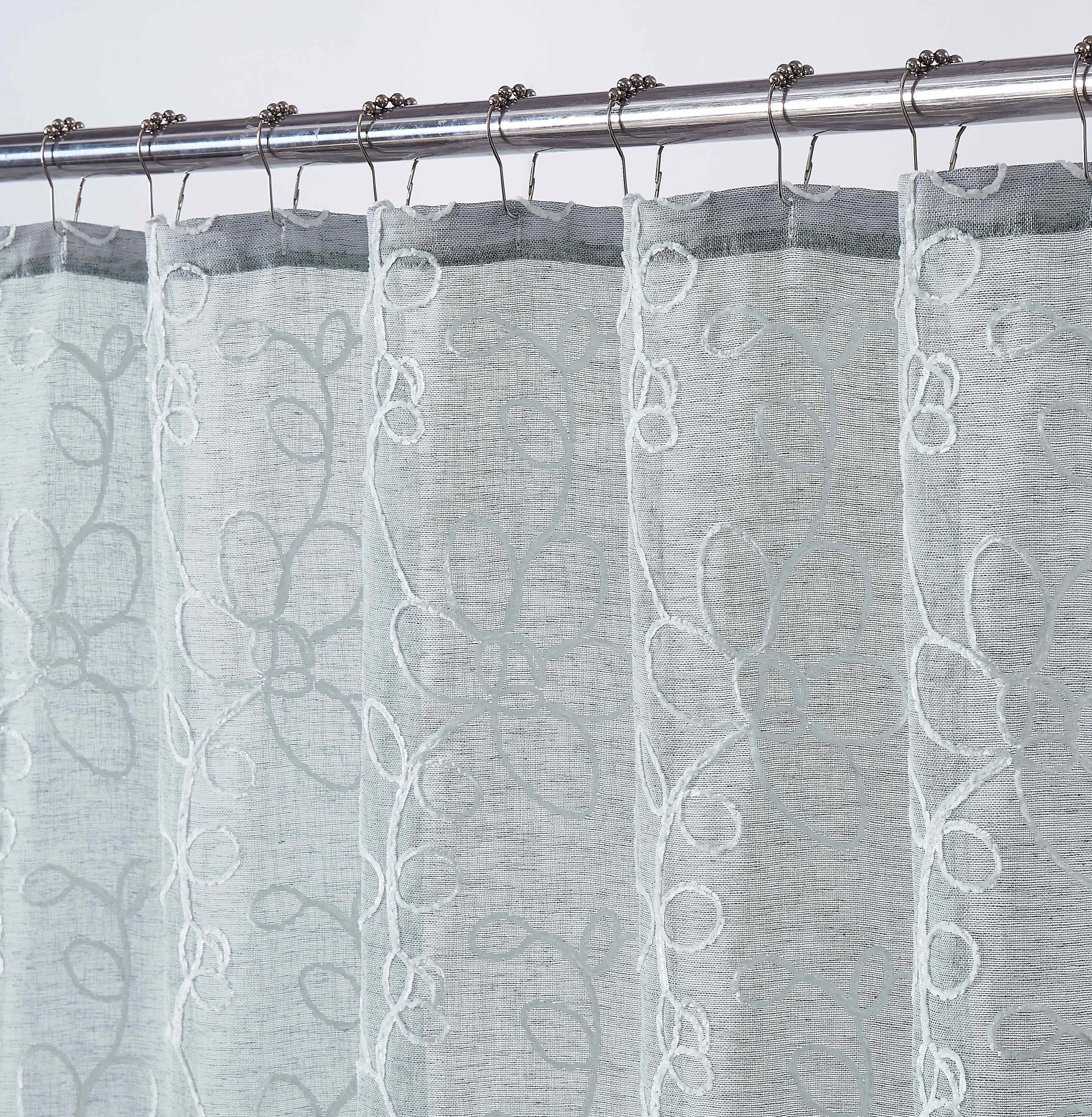 rita shower curtain with chenille embroidery in white