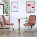 Furniture R Upholstered Dining Chair Set Of 2 Home Office Chair In Multiple Colors With Golden Color Legs Walmart Canada
