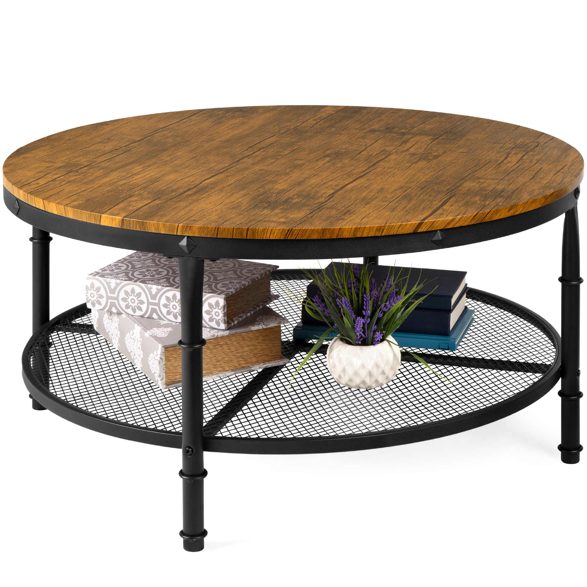 best choice products 2 tier round coffee table rustic steel accent table w wooden tabletop padded feet open shelf walmart com