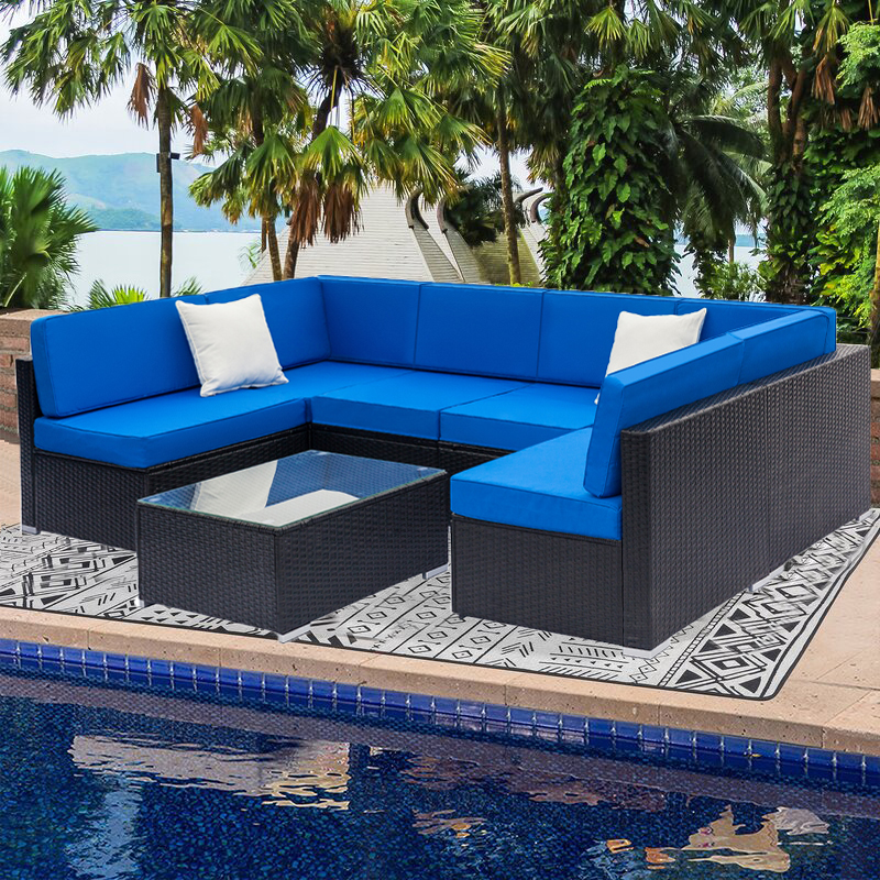 7 piece rattan patio furniture sofa set all weather black wicker patio conversation set with coffee table and blue cushions outdoor sectional sofa