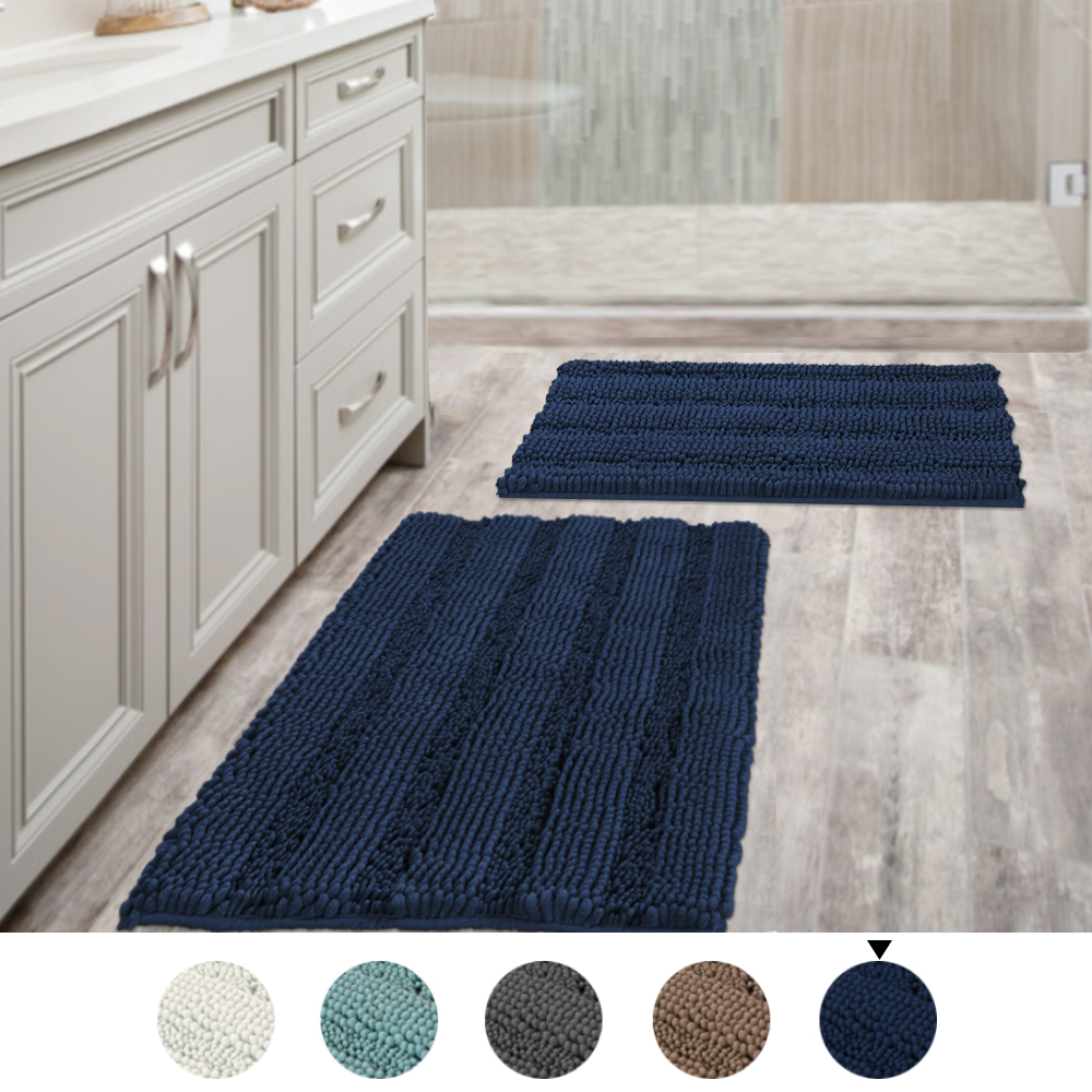 navy blue bathroom rugs slip resistant extra absorbent soft and fluffy thick striped washable bath mat non slip microfiber shag floor mat dry fast