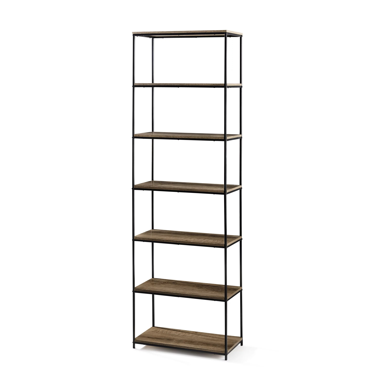 Mainstays 71 6 Shelf Metal Frame Bookcase Rustic Brown Walmart Com Walmart Com