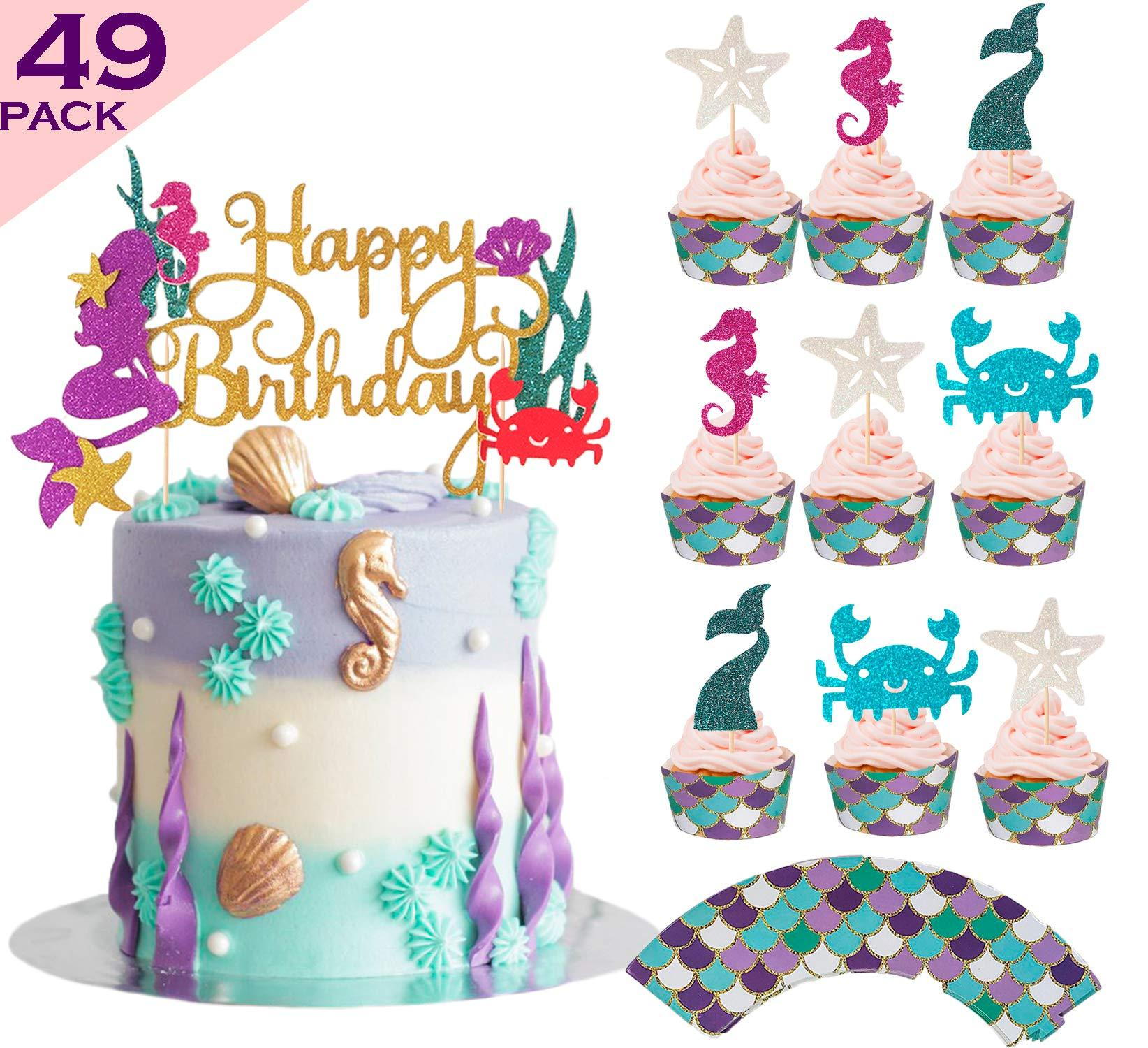 Bestus Mermaid Cake Topper Cupcake Toppers Wrappers 49pcs Kit Cake Decoration Set For Little Mermaid Party Theme Baby Shower Girls Birthday Mermaid Party Supplies Walmart Com Walmart Com