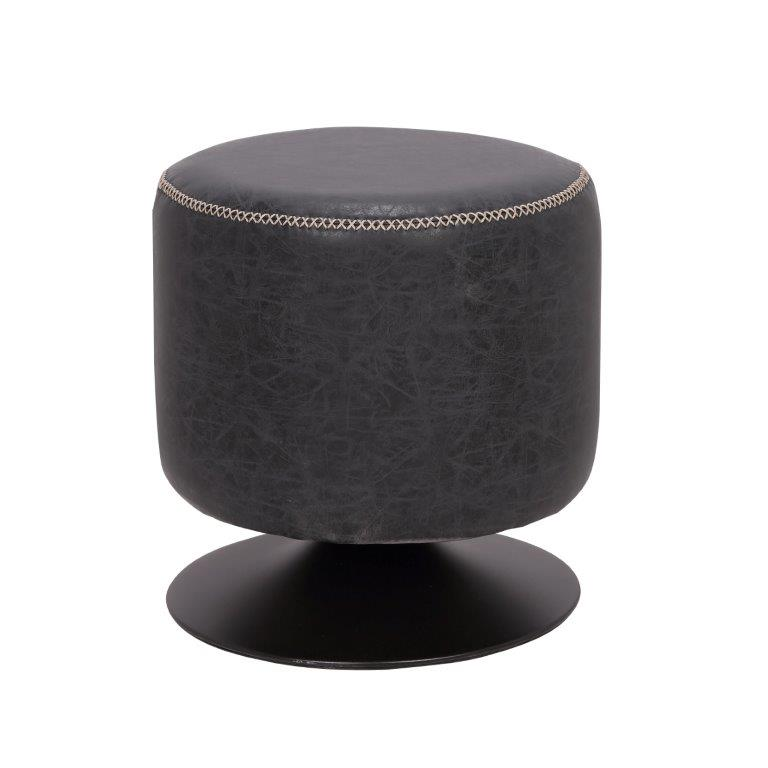 5035 round vintage upholstered ottoman black black pu walmart com