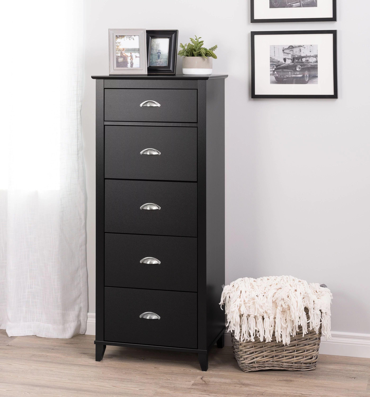 prepac yaletown 5 drawer tall chest black