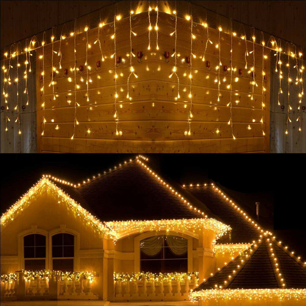 13ft extendable led string lights waterproof outdoor fairy lights curtain lights icicle lights for christmas garden patio party decoration