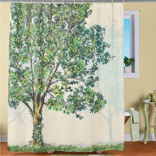 realistic green tree shower curtain