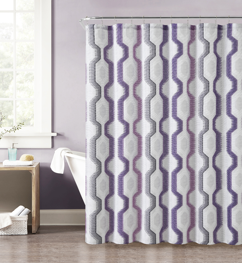 purple gray pink and taupe fabric shower curtain with printed vertical geometric design 72 x 72