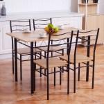 Costway 5 Piece Dining Table Set With 4 Chairs Wood Metal Kitchen Breakfast Furniture Walmart Com Walmart Com