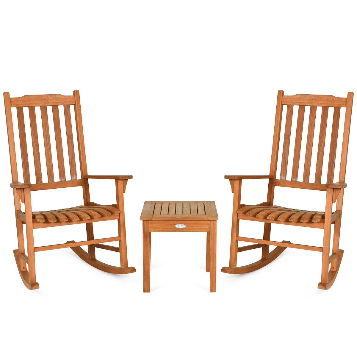outdoor 3 pieces wooden rocking chair set patio rocker chair and table