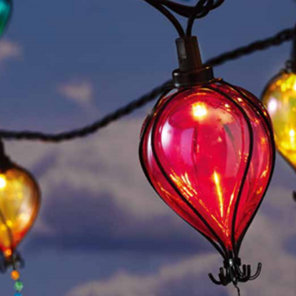 mainstays 110 volts electric 10 count 7 4 feet multi color balloon shape shatterproof tear drop string lights for outdoor and indoor use walmart com