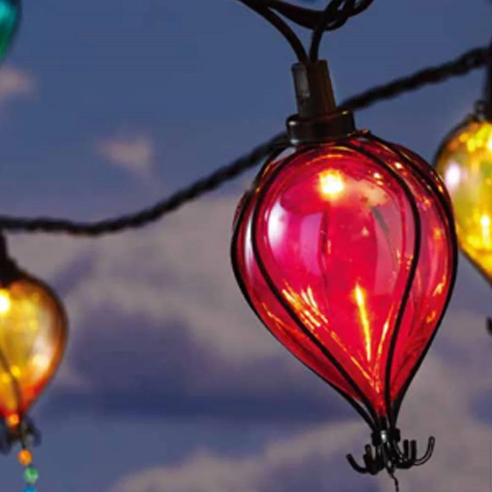 mainstays 110 volts electric 10 count 7 4 feet multi color balloon shape shatterproof tear drop string lights for outdoor and indoor use