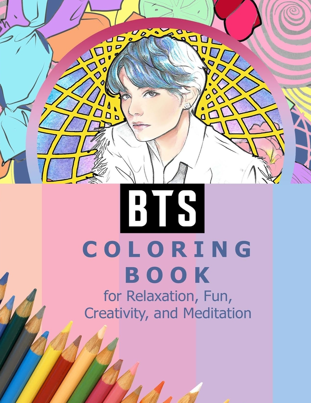 BTS Coloring Book for Relaxation, Fun, Creativity, and Meditation: Beautiful Stress Relieving Coloring Pages for ARMY and Kpop fans I Purple U 8.5 in by 11 in Size, Hand-Drawn, RM, Jimin, V, Jungkook,