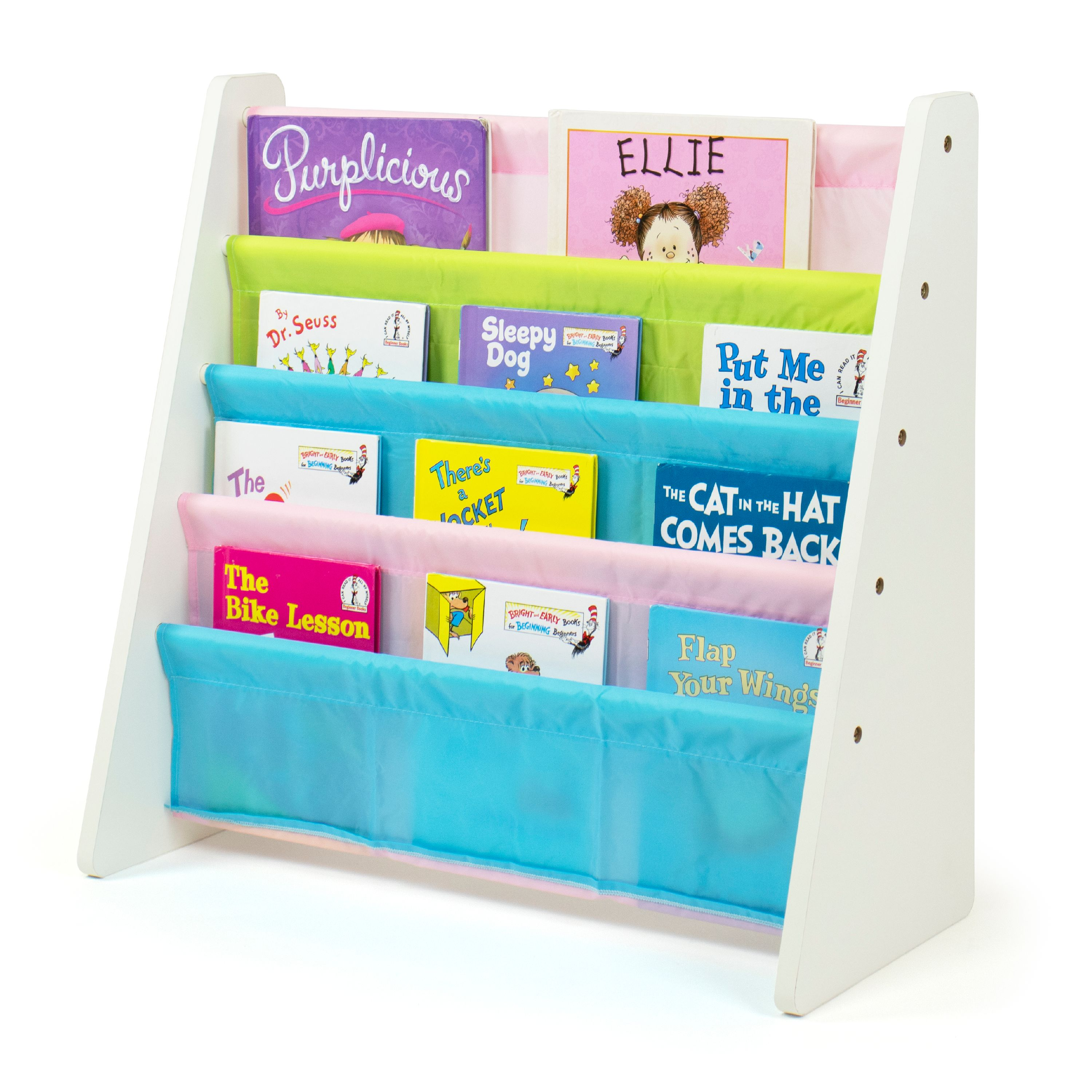 humble crew kids book rack with fabric sling sleeves multiple colors