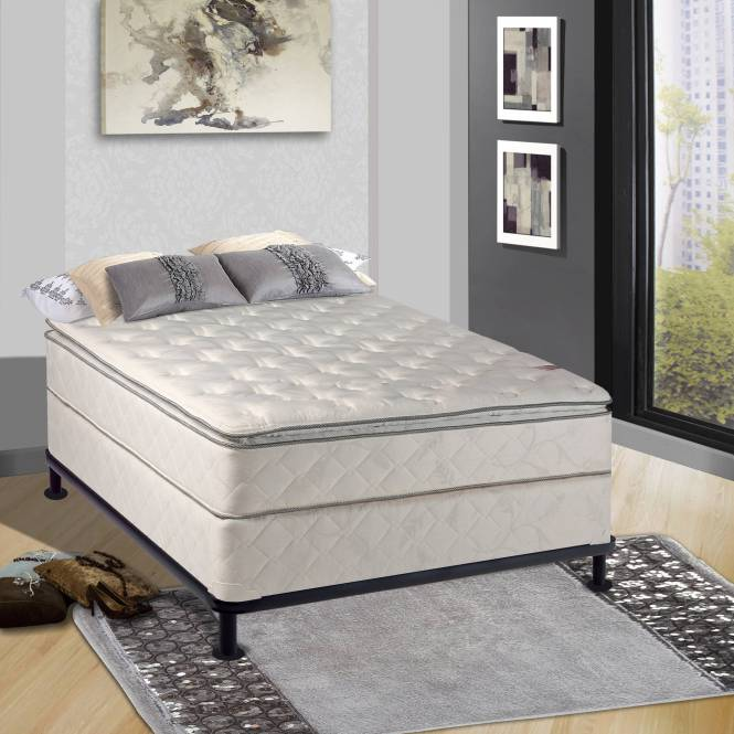 Pillow Top Orthopedic 10 Fully Assembled Mattress And 5 Inch Box Spring Multiple Sizes
